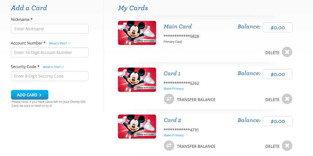 Combining Multiple Disney Gift Cards Into One! – The Disney Details